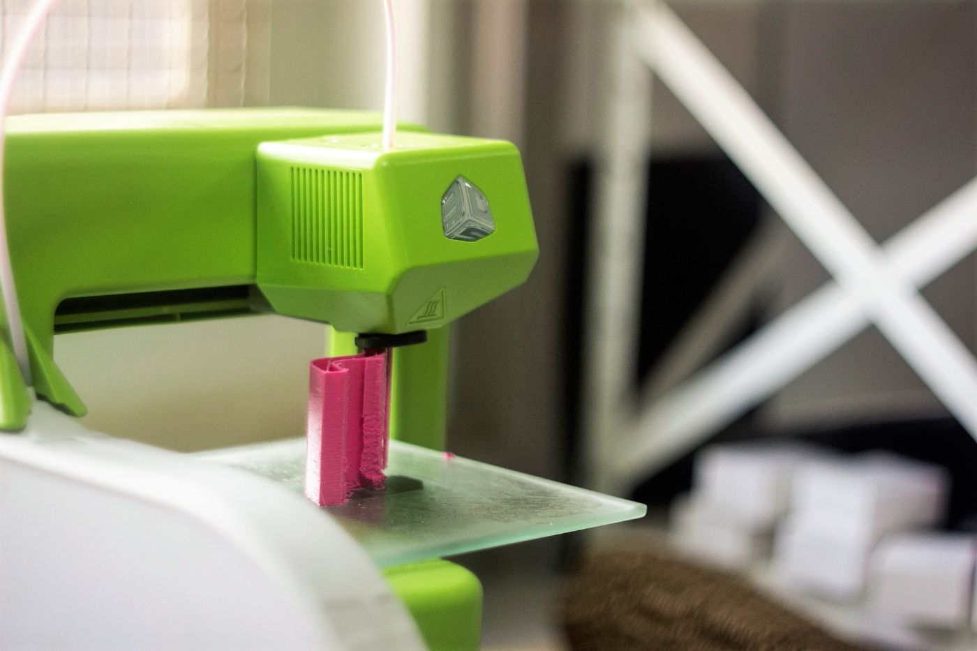 A neon green sewing machine