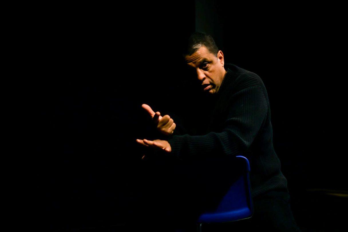 José Angel Santana, teaching young filmmakers, Columbia University, 2020