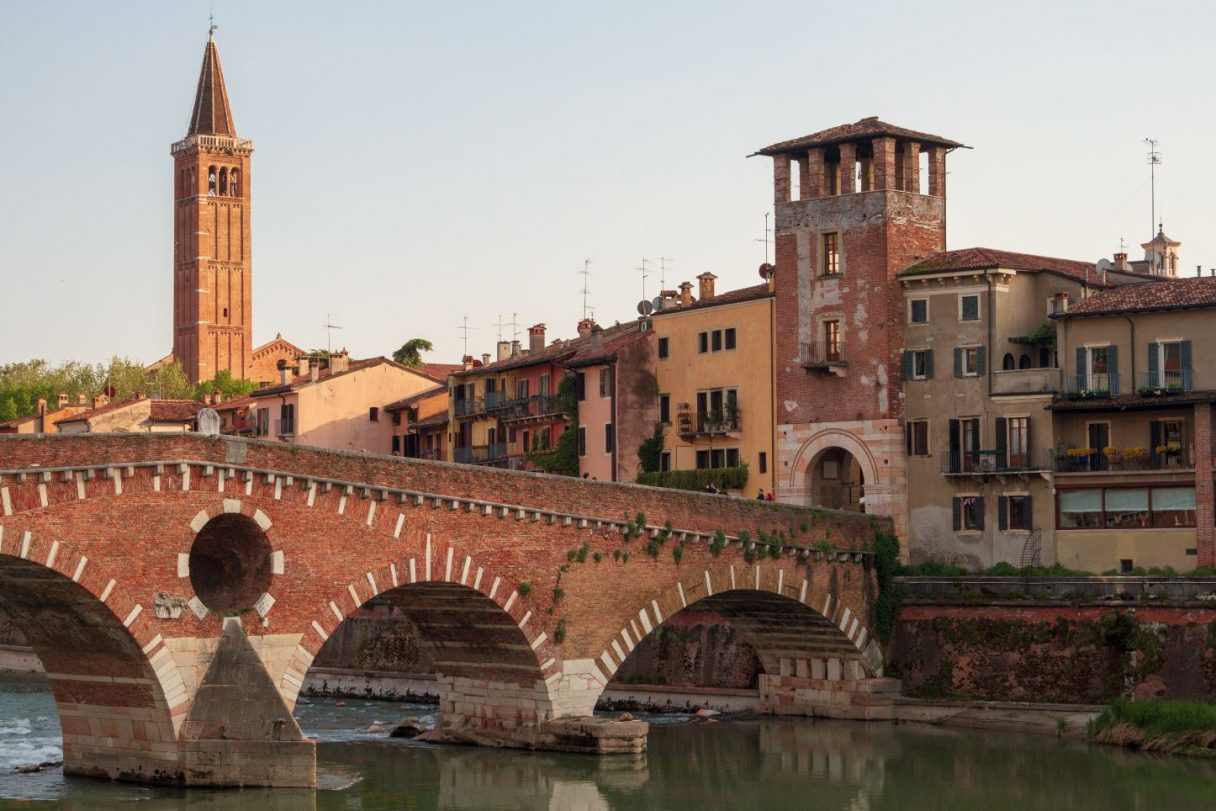 Ponte Pietra, once known as the Pons Marmoreus, Verona